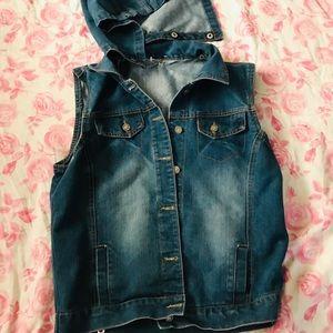 Jackets & Blazers - Denim hooded vest